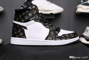 Expédition OFF brwon noir 1 1s des chaussures de basket-ball trois de luxe de chaussures de sport espadrilles mode limité de formateurs avec une valise 40-46