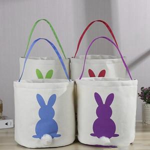 Easter Rabbit Basket Round Canvas Gift bag cartoon cute Bunny tails bucket Put Easter Jute rabbit DIY pail buckets AHE709