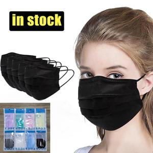 8 색 얼굴 개별 팩 패션 블랙 마스크 3 층 소매 패키지 일회용 마스크 보호 얼굴 방패 입 성인 및 어린이