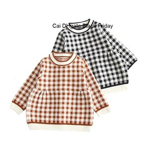Spring Autumn Baby Dress Kids Long Sleeve Knitwear Princess Girls Knit Plaid Dresses for Party Infants Tutu Dress Vestidos Tops