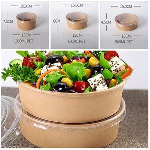 Emballage à usage unique Boîte Saladier avec couvercle alimentaire Conteneurs Déjeuner papier Kraft Paquet à emporter Fruits 750/1000 / 0 48jf F2 1300 ml