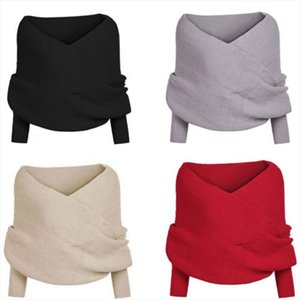 Womens Off shoulder V Neck Solid Long Sleeve Cross Wrap Oversized Loose Knitted Sweater Jumper Cardigan Outwear Coat