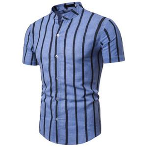 Erkekler Pamuk Keten Gömlek Erkekler Kısa kollu Bluz Erkek Yaz Yeni için yaka Dikey Çizgili Gömlek Standı