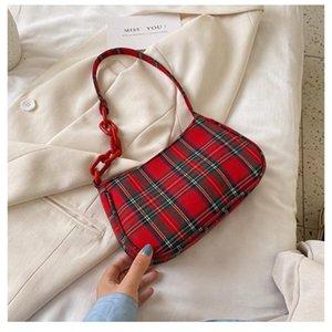 Kadın Vintage Omuz Çantası Moda Ekose Koltukaltı Çanta Fransız Elegant Lady Küçük El Baget Bez