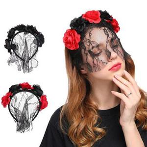 Donne Ragazze artificiale fiore della Rosa di mezza pizzo Veil maschera del costume della fascia Vintage Halloween Natale sexy del cerchio dei capelli del partito di travestimento