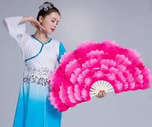 Femmes Pivoine Fleur Ronde Tissu Fan Dance Chinese Folk Éventail Veils paires en vente rose