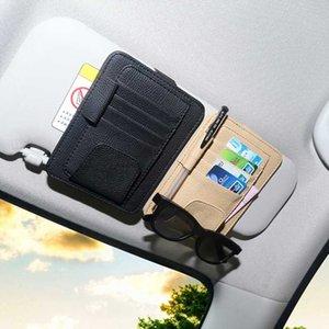 Couro Auto cartão Sunvisor Visor Storage Bag Car Sacos Óculos Bill Pen Titular Estiva Tidying Car Organizer