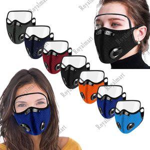 Masque vélo extérieur anti-poussière Droplet épreuve avec Breath Lunettes Protection Valve visage masque avec Eye Shield 7 style Livraison gratuite