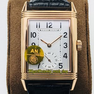 ANF Top-version Reverso Flip on both sides Dual time zone 3842520 White Dial Cal.854A 2 Mechanical Hand-winding Mens Watch Rose Gold Watches