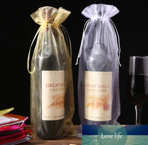 500pcs 15x37cm Gold Drawstring Organza Wine Bags For Wedding Party Gift Xmas Champagne Bottle Holder Pouches free shipping SN1327