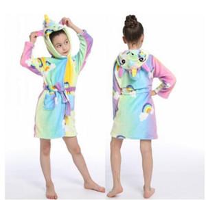 2020 Children Bathrobe Baby Bath Robe Animal Rainbow Unicorn Hooded Bathrobes For Boys Girl Pyjamas Nightgown Kids Sleepwear