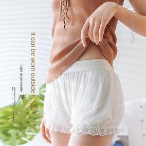 Buz Silk dikişsiz Fener beyaz aşağı doğru fener karşıtı poz güvenlik pantolon kadın yaz ince emniyet pantolon şort giyebilir