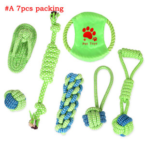 Pets dog Cotton Chews Knot Toys colorful Durable Braided Bone Rope Combination Suit Funny dog cat Toys