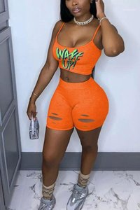 Shorts Casual Letter Print 2 Piece Skinny Sets Sexy Women Summer Designer Suits Women Camis Two Piece