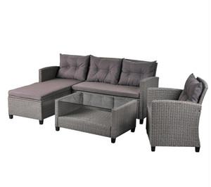 Kostenloser Versand Patiomöbeln Sets 4 Stück Conversation Set Wicker Ratten Sectional Sofa mit Sitzkissen Grau WY000066EAA
