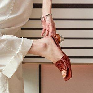de las mujeres sandalias de tacón redondas 2020 pantalones ajustados pantalones ajustados vp sandalias atractivas de la nueva manera del todo-internet polainas estilo de las celebridades de hadas