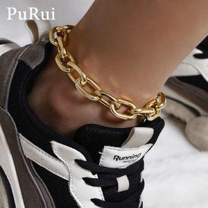 PURUI Punk Cubain Chaîne Chaîne Anklets Bracelet pour femme Bracelets Or Couleur Gold Boho Chaîne Body Bijoux Bijoux Foot Charms T200901