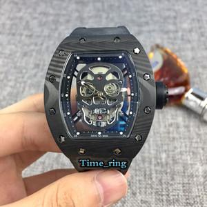 Лучший выпуск RM52-01 Скелет циферблат из углеродного волокна Корпус Япония Miyota автоматического движения RM52-01 Мужские часы черный каучуковый ремешок Дизайнерские часы