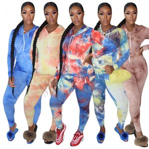 2020 Women's 2 piece clothing Set Long Sleeve Hoodie Tie dye Pullover T-shirt Leggings Pants Tracksuit Sweatshirt sports suit Outfits D81010