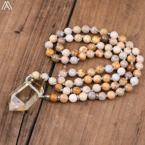 Natural Smoky Color Citrines Quartz Pendant Flower Fossils Stone Round Beads Handmade Knotted Necklace N0247AM