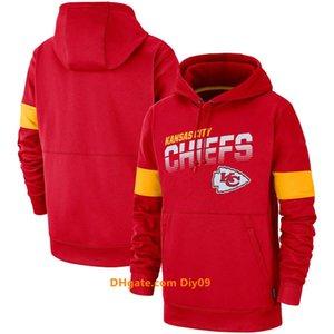 hombres KansasCiudadjefesSudadera Equipo de la línea lateral de la vendimiaNFL Rendimiento auténtico lujo con capucha suéter