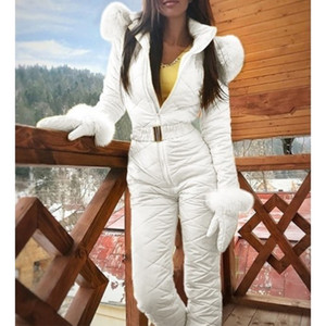 New Winter Women's Hooded Jumpsuits Parka Cotton Padded Warm Sashes Ski Suit Straight Zipper One Piece Casual Tracksuits2020