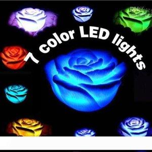 로맨틱 다채로운 장미 꽃 밤 빛 LED 캔들 플라워 램프 결혼식 생일 선물 크리스마스 파티 장식 용품