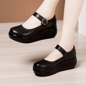 Plus Size 32-43 Platform Shoes Women Mary Janes 2020 Autumn Buckle High Heels Pumps Woman Wedges Shoes Leather Shoe for Mother