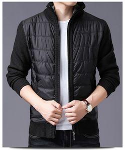 Mens Jacket inverno de espessura Fique Collar manga comprida Coats Patchwork Casual Quente Magro Homme Moda Outerwears Dropshipping