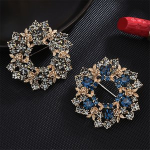 Austrian crystal brooch brooch temperament all-match anti-fade clothing accessories high-end rosette pin fashion accessories can be customiz