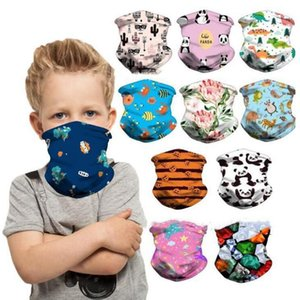 Kids Protective Bandana Outdoor Cycling Face Mask Cold Feeling Ice Silk Magic Scarf Creative Headband Cartoon Kid Face Cover DHF1001