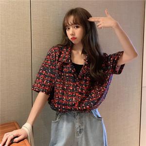 40760 2020 лето с короткими рукавами дизайна женщин Kong стиль потерять Хонг износ в летнем сезоне Чжуан XIN Nv 2020 новый распечатанного верха для женщин