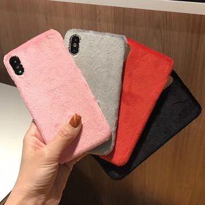 Sevimli Tavşan Saç Yumuşak Sıcak Hard Case Arka Dokunmatik Kürk Kürklü Peluş Darbeye Kadınlar Kız Lady Kapak iPhone XS Max XR X 8 7 6 6S Artı Smooth