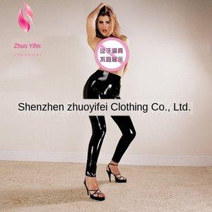 xmsiB sexy in pelle latex Pantaloni a vita alta stretti naturali dipingono pantaloni stretti di pelle donna di grandi dimensioni