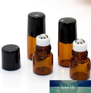 1ML 2ML Roll-On bouteille de verre ambré brun clair Couleur Rollon Bottle Roller Metal Ball Huile Essentielle parfum liquide