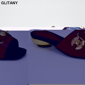 Latest Design African Women Wedding Shoes Decorated with Metal Low Heels Women Slippers Shoes Elegant Italian Party