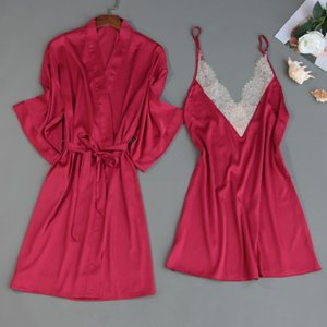 MECHCITIZ summer silk robe set for women satin lace sexy sleepwear bathrobe and mini lingerie dresss underwear pajamas sleep set