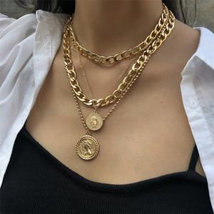 Женщины сплава Многослойный круглый Марка Hip Hop ожерелье Женская мода Human Head ключицы цепи ювелирные изделия для подарка