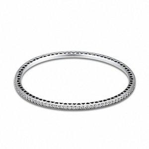 Genuina plata de ley 925 del centelleo siempre CZ clara brazaletes para las mujeres de DIY que hace Fits joyería europea Berloques Pulsera vQLC #