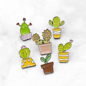 Hot selling cute cartoon little green potted plant cactus sunflower alloy enamel pin badge brooch