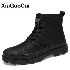 Ботинки 2021 осень зима мужская армия большой размер теплые плюшевые мужские туфли высокого верхнего открытого кружева вверх по прибытии черной лодыжки