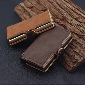 RFID Business Credit Card Holder Men Multifunction Automatic Aluminium Alloy Leather Cards Case Mini Wallet Slim Coin Purse