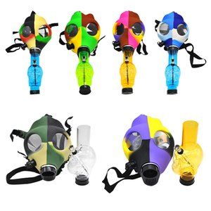 Dab rig pipe glass pipe Gas Mask Bong Both Glow in the Dark Water Shisha Acrylic Smoking Pipe Sillicone Mask Hookah Tobacco Tubes