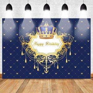 Couronne Joyeux anniversaire photo fond Fournitures royale du nouveau-né Baby Party Bannière Props Toile de fond Répétition Couronne Motif Studio Bleu