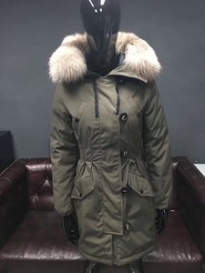 2019 winter Fashion Women Long Down Jacket Silver Fox Collars Down Jacket Black Hooded Jacket Army Green Parkas