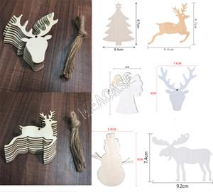 Деревянные рождественские украшения Crafts Снеговик Рождественский чулок Elk Angel Wood Chip Главная украшения рождественской елки Малый кулон D83104