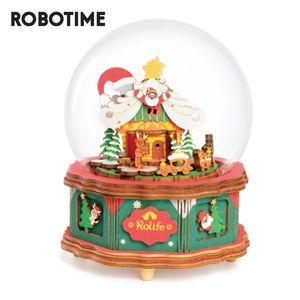 العاب اطفال للبنات Robotime نموذج صندوق تاون الموسيقى خشبي بناء أطقم هدايا عيد الميلاد HelsW
