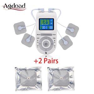 12 طرق عشرات Electroestimulador عشرات آلة مدلك وحدة الجسم لتخفيف الآلام EMS تنشيط العضلات مع 2 أزواج سادات القطب الكهربائي