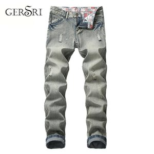 Gersri Designer Brand Men Jeans Skinny Ripped Destroyed Stretch Slim Fit Hop Hop Pants With Plus Size Pants For Men
