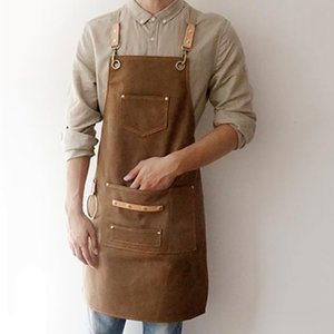2020 BBQ Canvas Apron Bib Leather Chef Kitchen Apron For Women Men Barista Bartender Pockets Home Barber Cook Coffee Restaurant